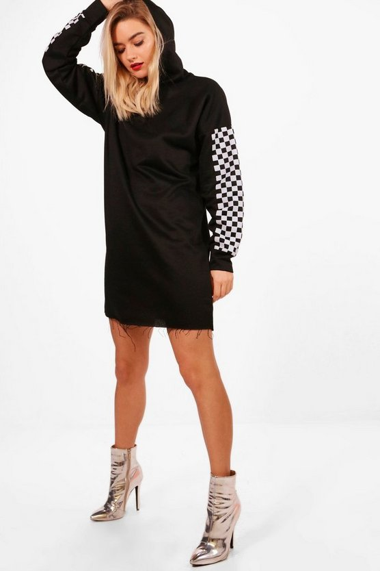 Emma Check Sleeve Hooded Sweat Dress