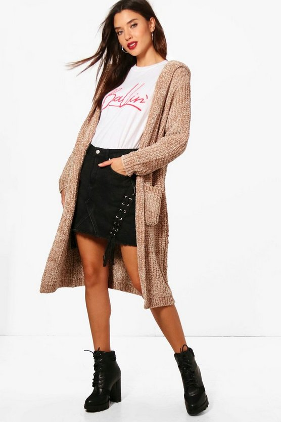 Gabbie Chenille Hooded Cardigan