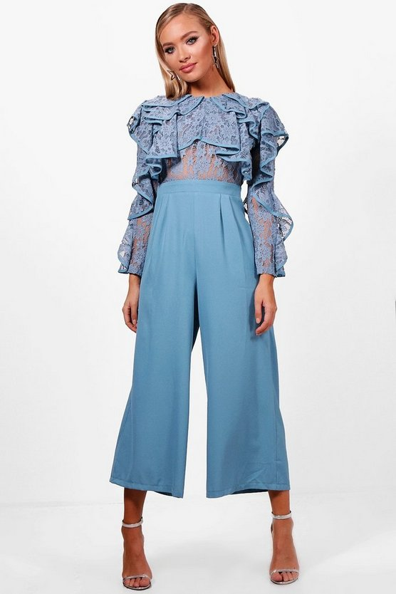 Amy All Over Lace Ruffle Culotte Jumpsuit