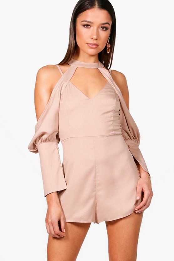 Cut Out Detail Choker Playsuit