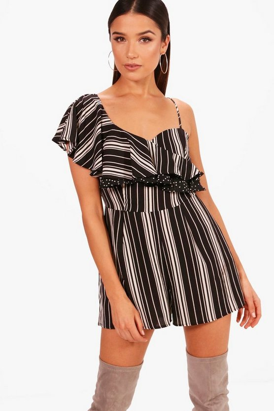 Lexi Contrast Print Ruffle Playsuit