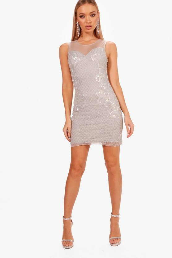 Boutique Grid Embellished Bodycon Dress