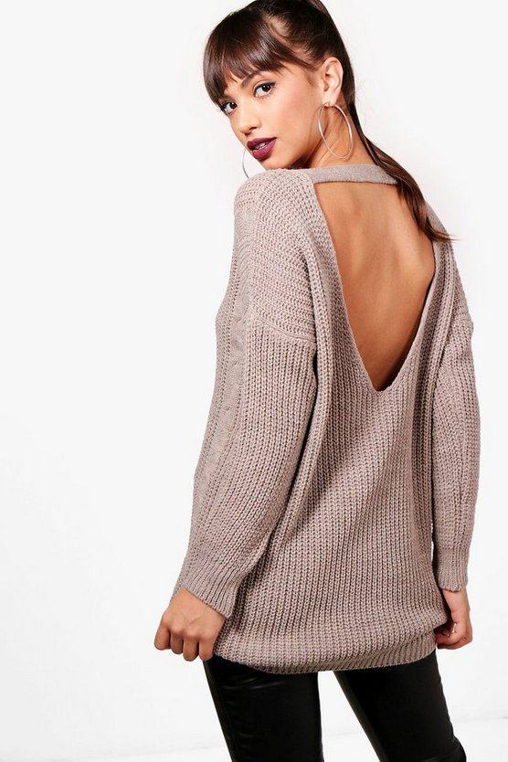 Fliss Cable Knit V Back Jumper