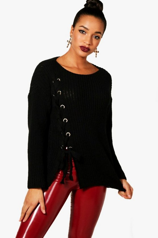Erika Lace Up Front Knitted Jumper