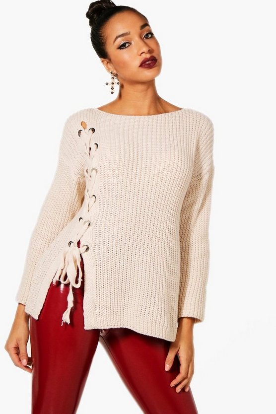 Lace Up Front Knitted Jumper