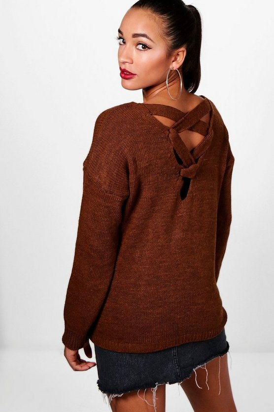 Hannah Lace Up Back Detail Knitted Jumper