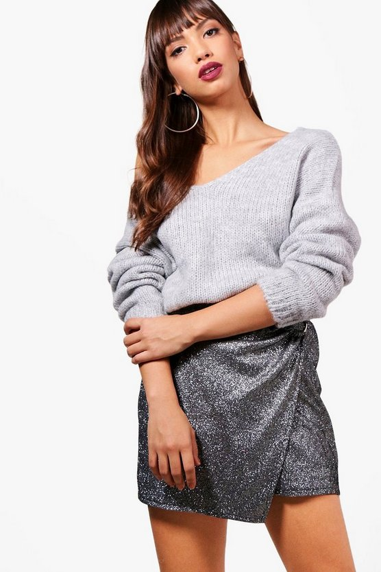 Oversized V Neck Slouchy Premium Knit Jumper