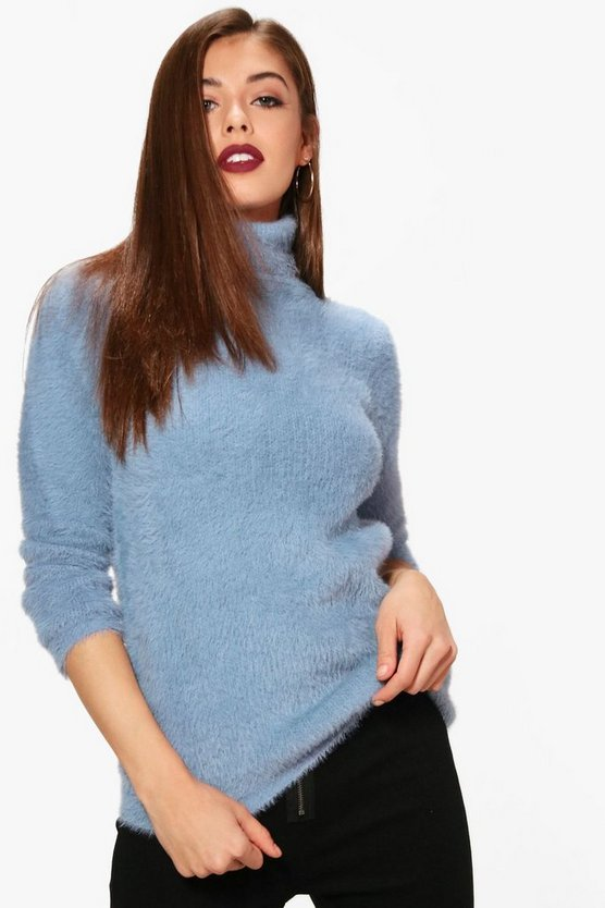 Jade Fluffy Roll Neck Jumper