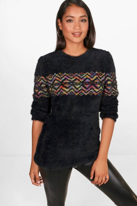 Isla Fluffy Aztec Fairisle Knitted Jumper
