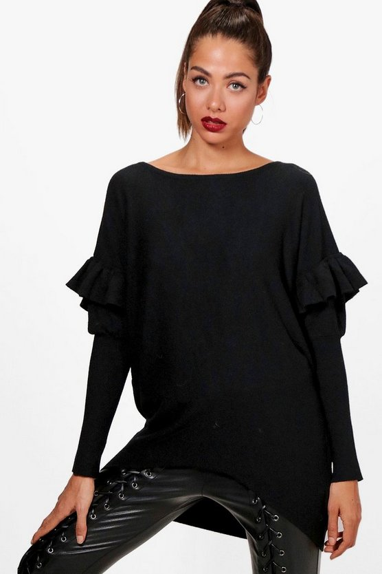 Ruffle Curved Hem Knitted Jumper