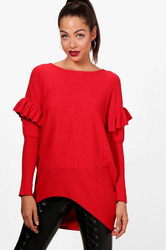 Megan Ruffle Curved Hem Knitted Jumper