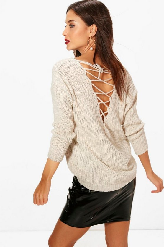 Lace Up V Back Jumper