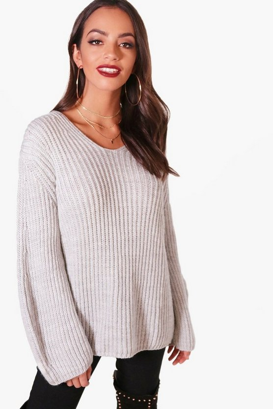 Lily Oversized V Neck Jumper
