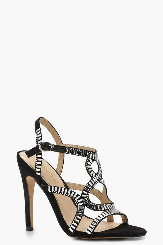 Diamante Embellished Cage Sandals