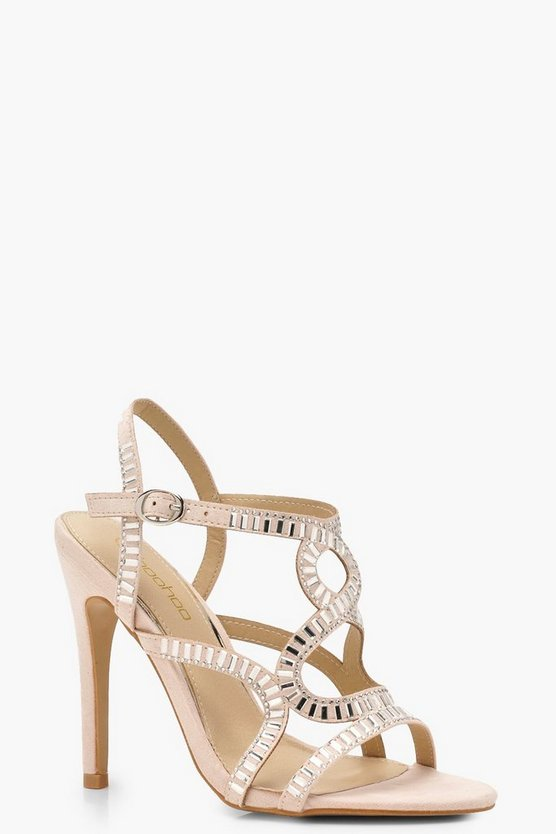 Lizzie Diamante Embellished Cage Sandals