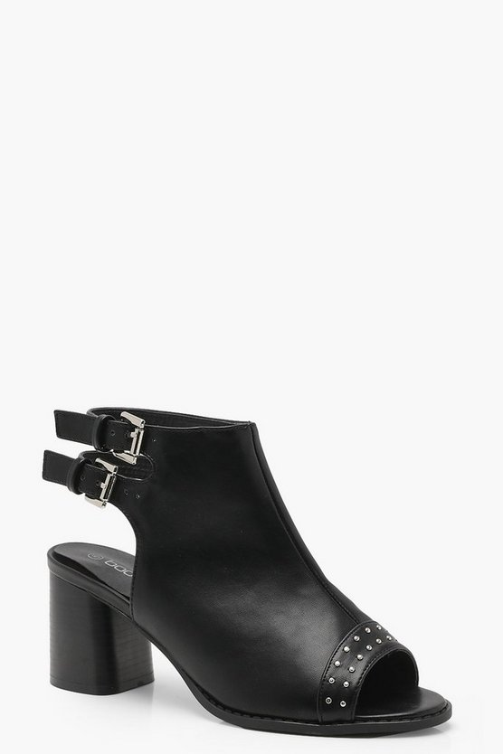Elise Wide Fit Studded Toe Peeptoe Shoe Boots