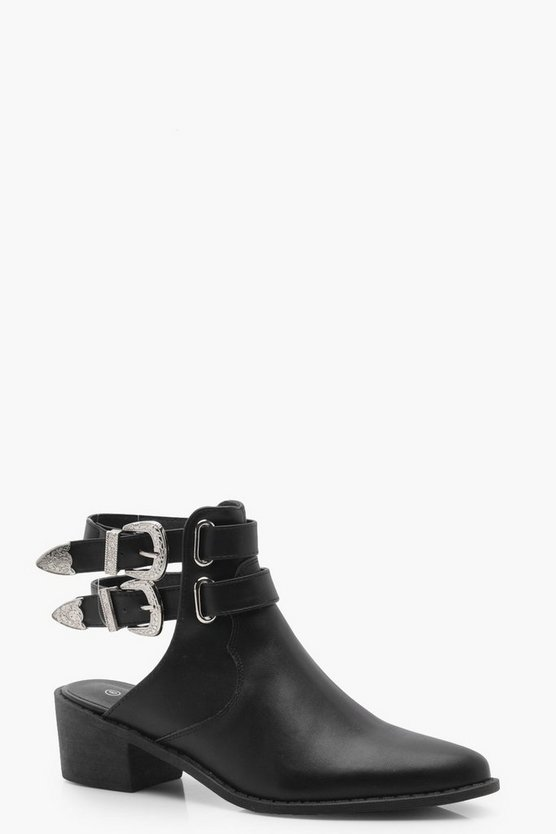 Laura Western Buckle Open Back Boots