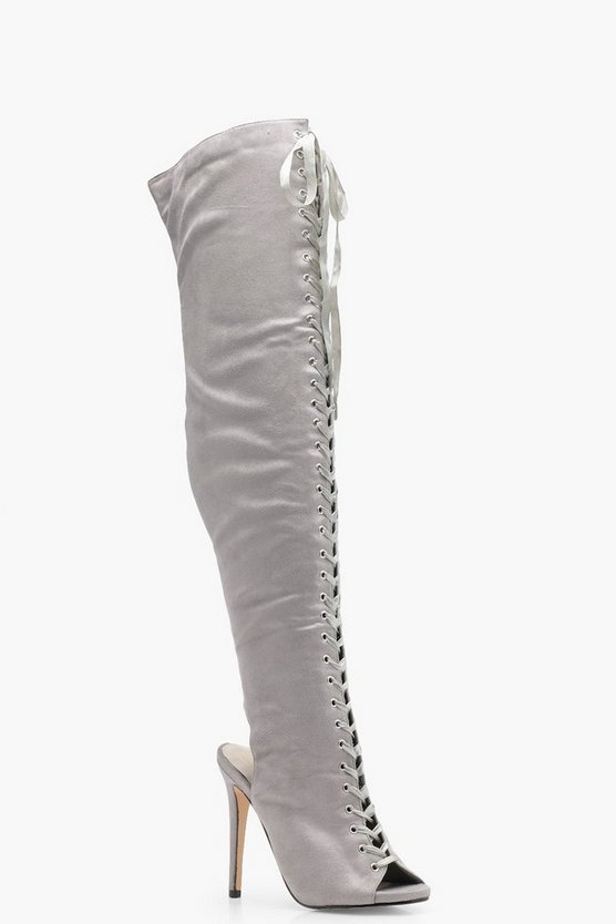 Darcy Lace Up Peeptoe Over the Knee Boots