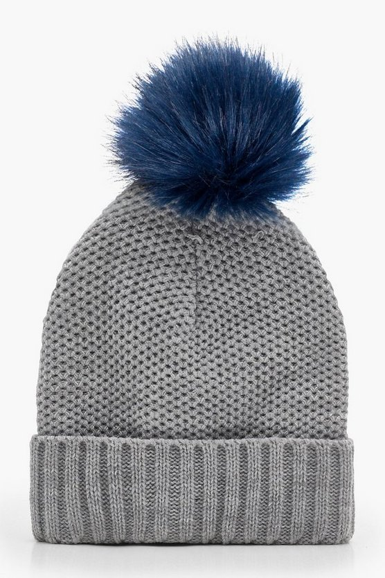 Amy Contrast Pom Knitted Beanie