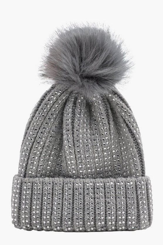 Bella Diamante Faux Fur Pom Beanie