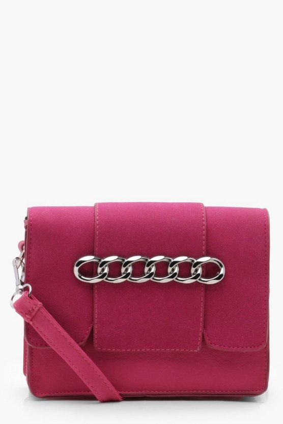Erin Chain Detail Suedette Flap Cross Body