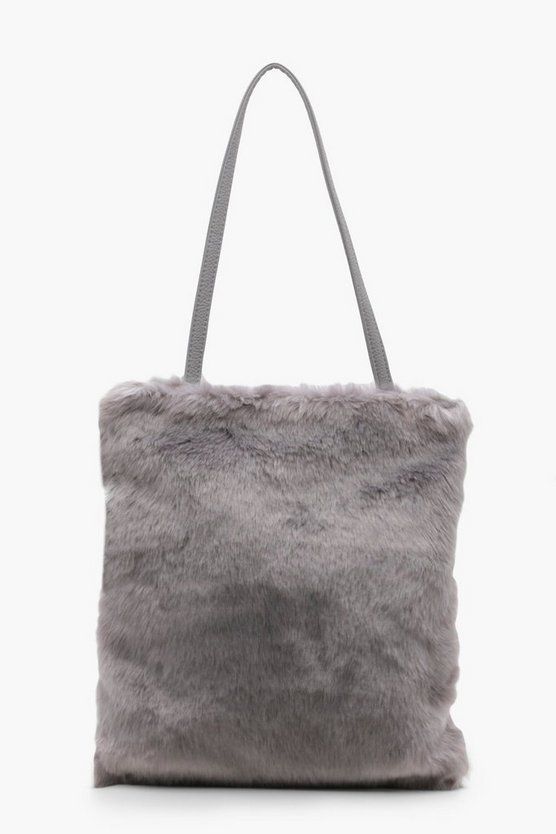 Rose Faux Fur Shopper Bag