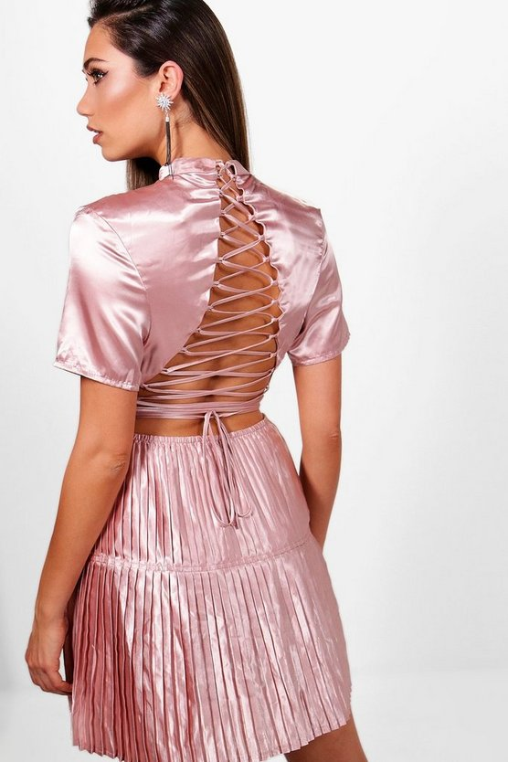 Boutique Satin Pleat  Back Skater Dress