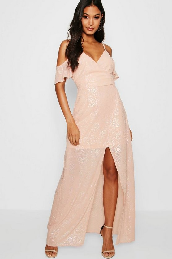 Boutique Metallic Wrap Maxi Dress