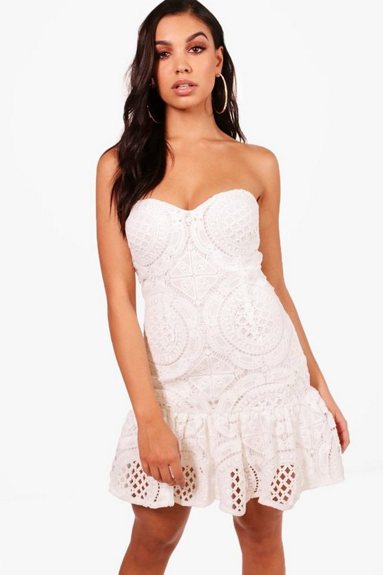 Boutique Lace Drop Hem Bandeau Dress