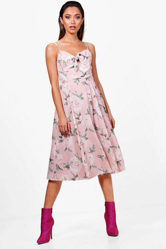 Boutique Knot Front Floral Midi Dress