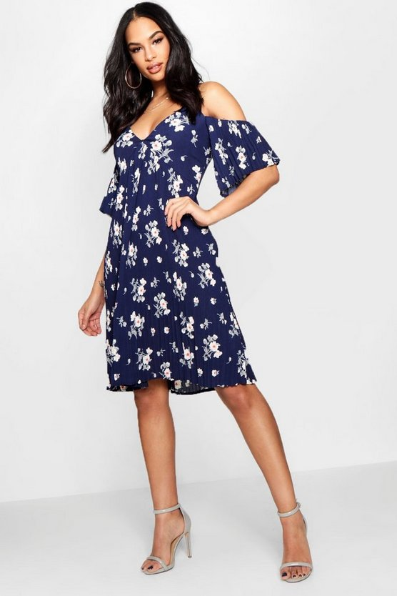 Boutique Ditsy Pleated Midi Dress