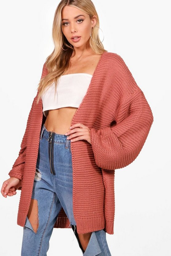 Una Balloon Sleeve Cable Knit Cardigan