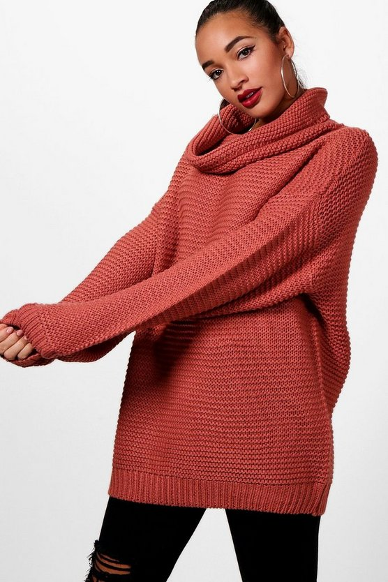 Megan Oversized Cowl Neck Knitted Jumper