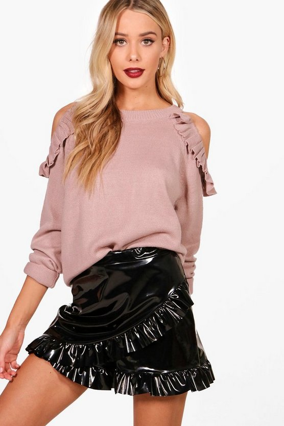 Hannah Ruffle Cold Shoulder Knitted Top