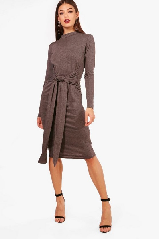 Hailey High Neck Tie Detail Midi Dress