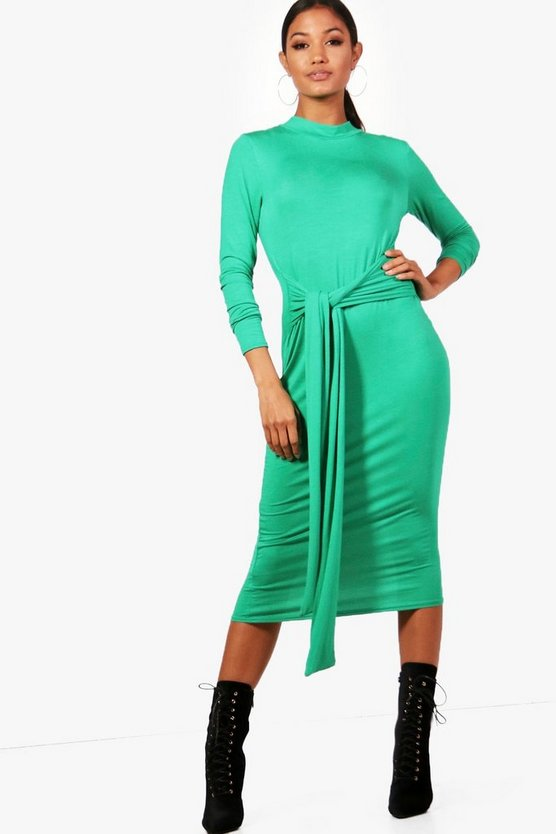 High Neck Tie Detail Midi Dress