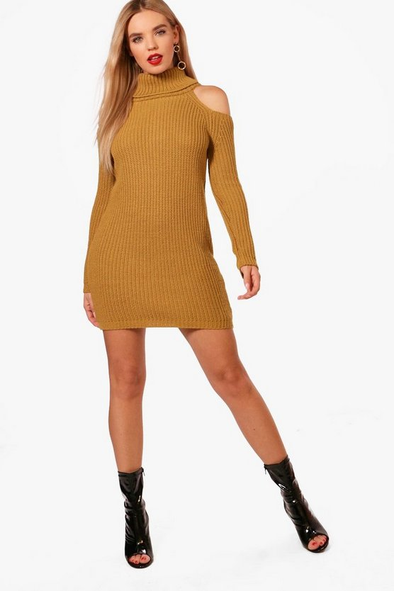 Luna Knitted High Neck Cold Shoulder Dress