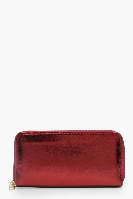 Amber Cracked Texture Ziparound Purse