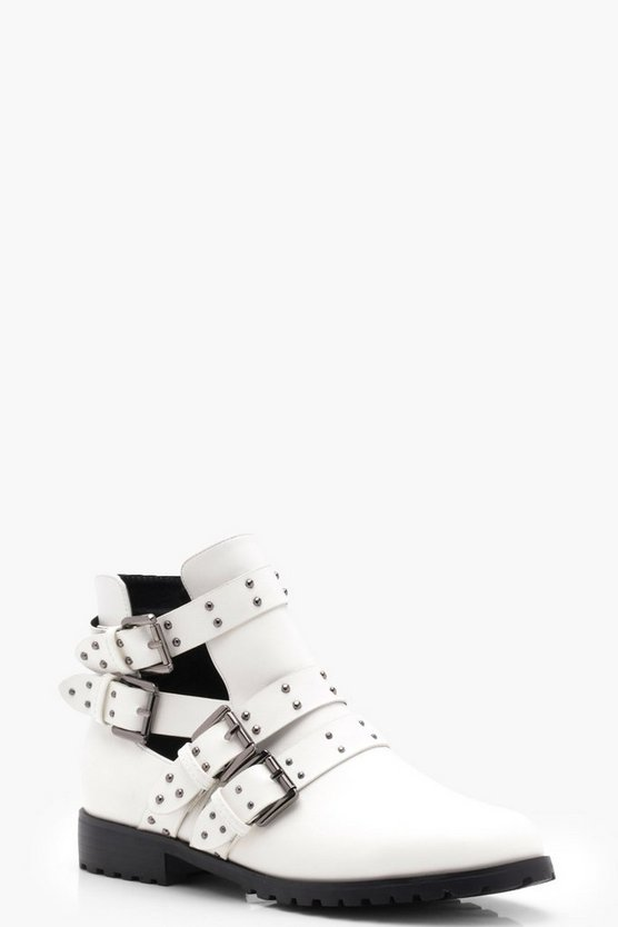 Kayla Studded Strap Cut Work Ankle Boots