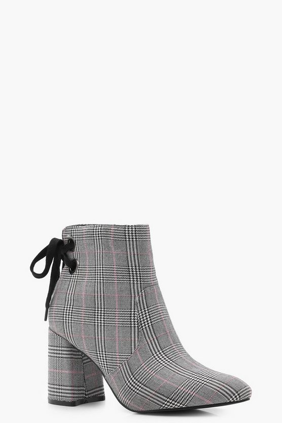 Checked Lace Back Ankle Boots