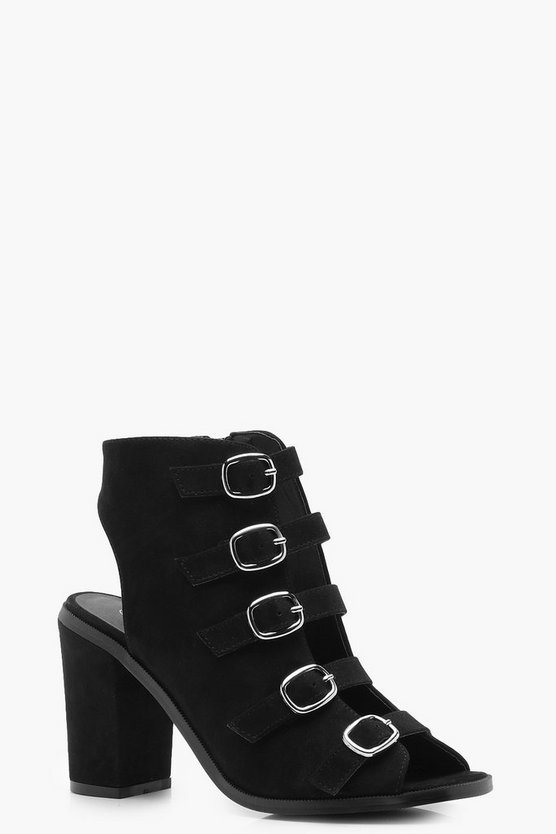 Multi Buckle Peeptoe Shoe Boots