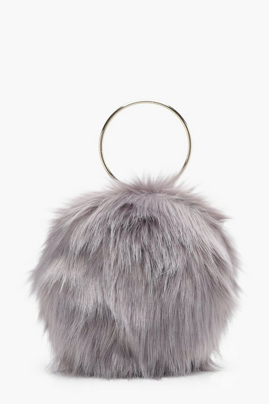 Isobel Double Ring Faux Fur Clutch
