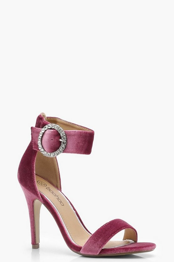 Esme Velvet Brooch Trim 2 Part Heel