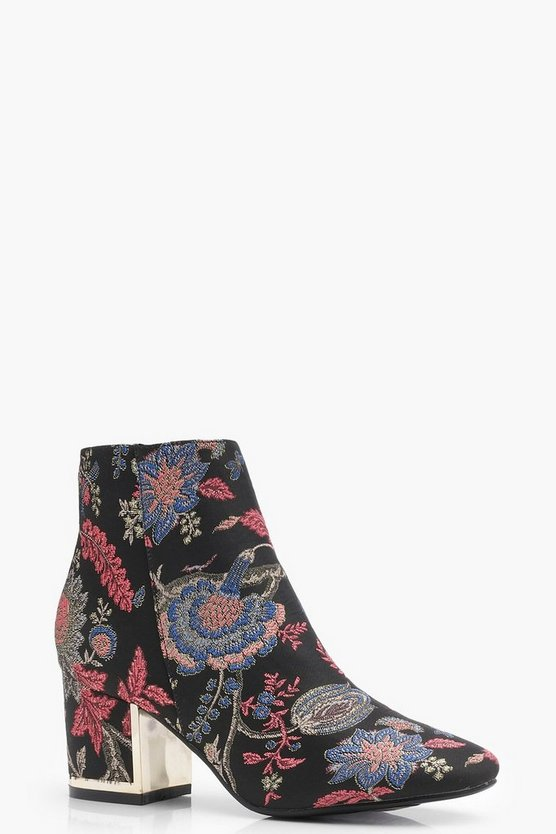 Bella Floral Plaque Heel Block Shoe Boots