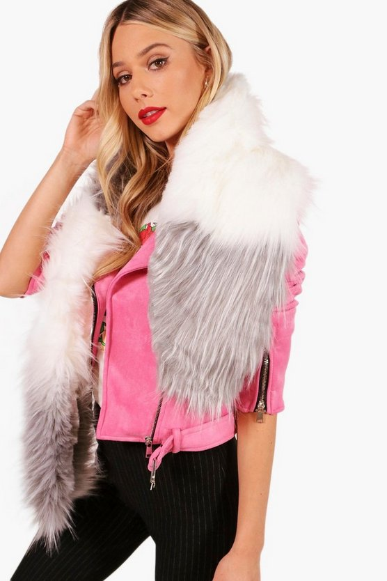 Colour Block Faux Fur Scarf
