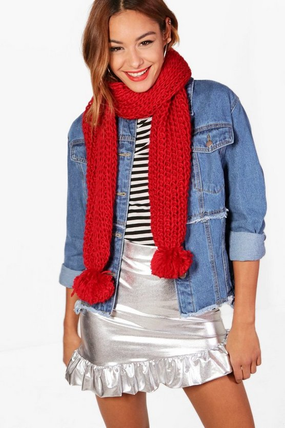 Lydia Pom Pom End Knitted Scarf