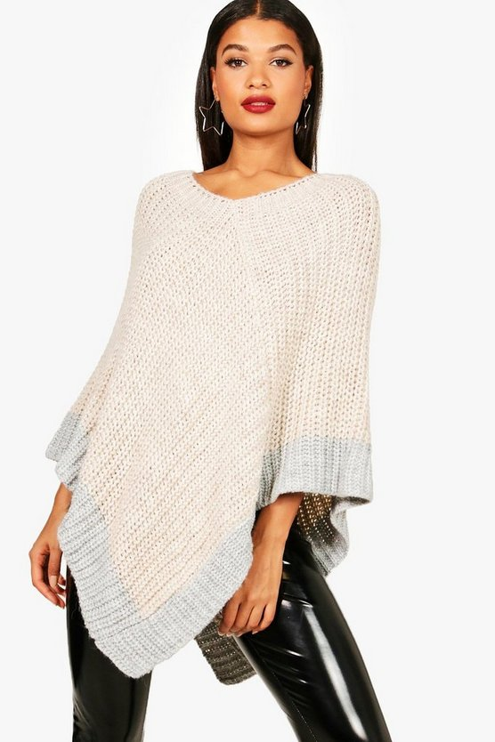 Maisie Colour Block Poncho Knitted