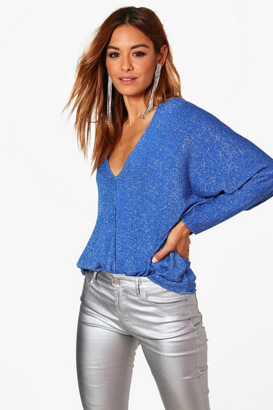 Darcy Deep V Neck Metallic Knitted Top