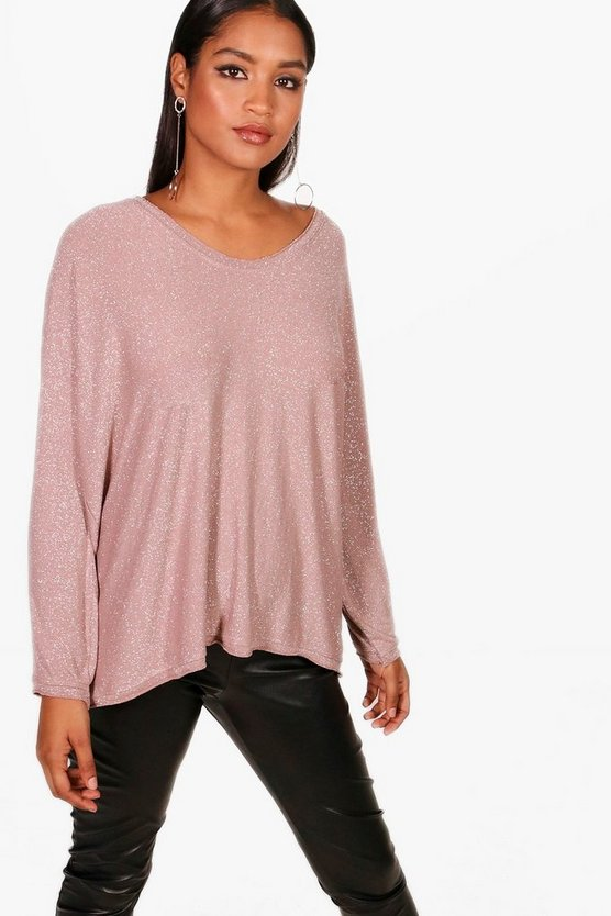 Anna Oversized Metallic V Neck Knitted Top