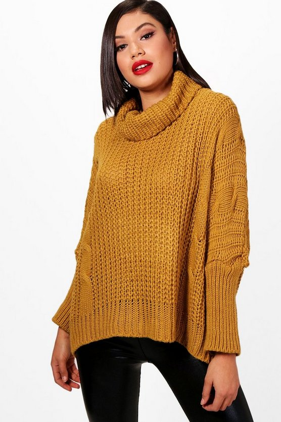 Chunky Roll Neck Cable Knit Jumper